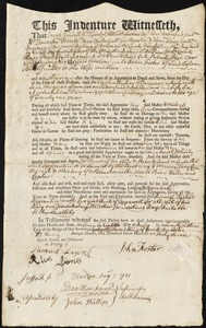 Document of indenture: Servant: Price, Robert. Master: Foster, John. Town of Master: Boston