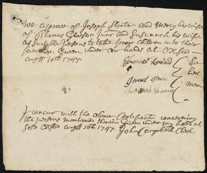 Document of indenture: Servant: Sloper, Susanna. Master: Streeter [Streter], Joseph. Town of Master: Oxford. Selectmen of the town of Oxford autograph document signed to the [Overseers of the Poor of the town of Boston]: Endorsement Certificate for Joseph Streeter.