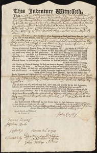 Document of indenture: Servant: Hadwell, John. Master: Crosley, John. Town of Master: Boston
