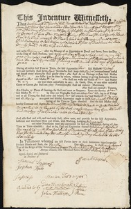 Document of indenture: Servant: Amos, Annah. Master: Fisher, Josiah. Town of Master: Dedham