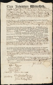 Document of indenture: Servant: Fisk, Susanna. Master: Lovell, John. Town of Master: Boston