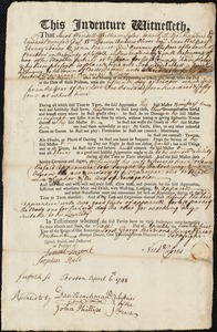 Document of indenture: Servant: Nesbatt, Francis. Master: Cussens, Nicholas. Town of Master: Boston