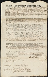 Document of indenture: Servant: Sulevan, Mary. Master: Morey [More], Michael. Town of Master: Salem