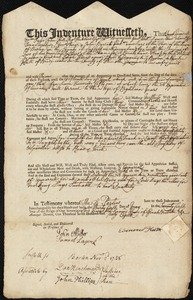 Document of indenture: Servant: Hariss, Sarah. Master: Keith, Ebenezer. Town of Master: Bridgewater