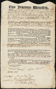 Document of indenture: Servant: Nichols, Hannah. Master: Bennett [Bennet], Spencer. Town of Master: Newbury