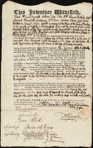 Document of indenture: Servant: Chambers, John. Master: Gunter, Thomas. Town of Master: Boston