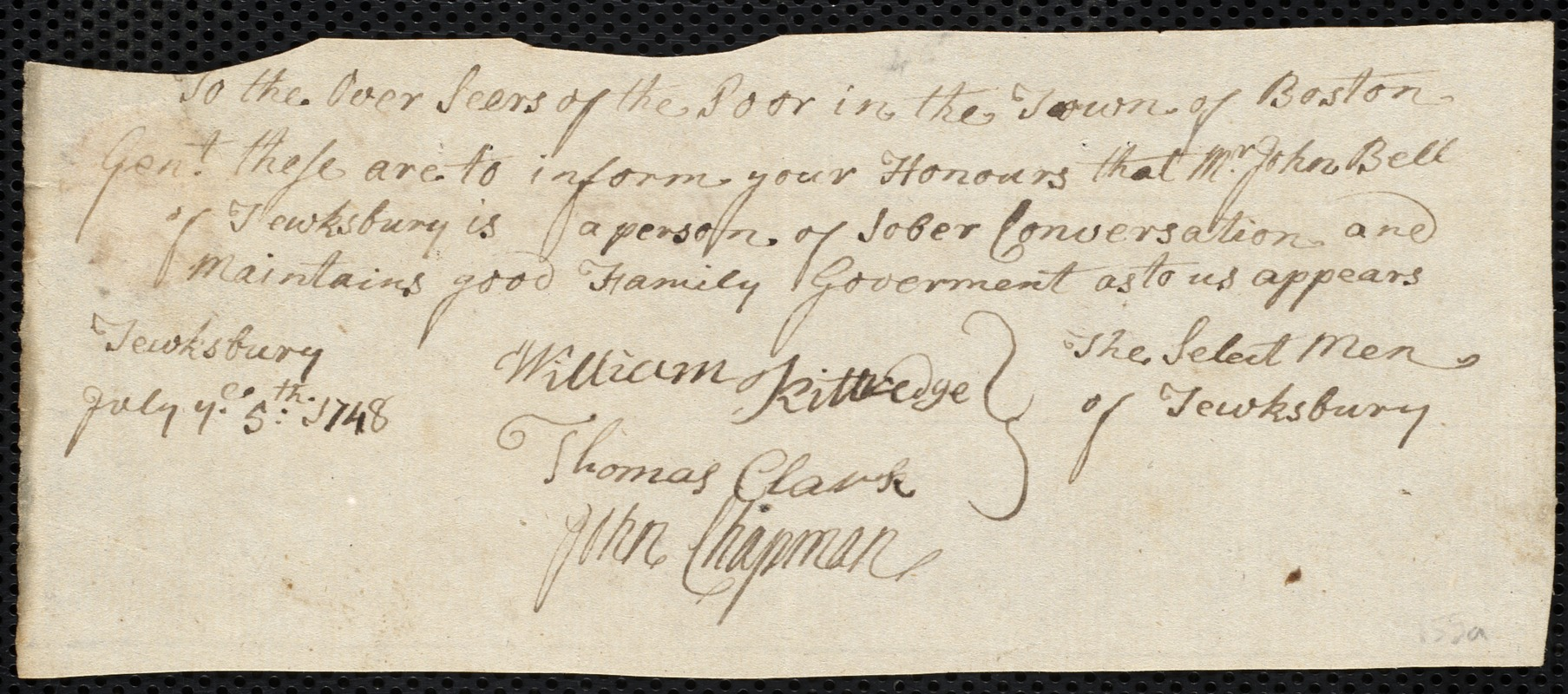 Document of indenture: Servant: Caswell, Richard. Master: Bell, John. Town of Master: Tewksbury. Selectmen of the town of Tewksbury autograph document signed to the Overseers of the Poor of Boston: Endorsement Certificate for John Bell.