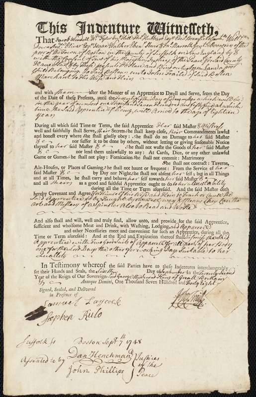 Document of indenture: Servant: Lane, Ann. Master: Fraile, John. Town of Master: Boston