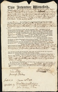 Document of indenture: Servant: Orn, Sarah. Master: Jackson, Joseph. Town of Master: Boston