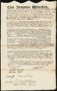 Document of indenture: Servant: Booker, Joseph. Master: Coit, Joseph. Town of Master: Boston
