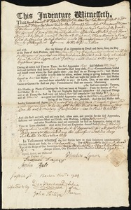 Document of indenture: Servant: Brown, Mary. Master: Lyman, Phineas [Pheneas]. Town of Master: Suffield