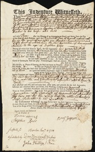 Document of indenture: Servant: Gard, Margaret. Master: Cristy, John. Town of Master: Wenham