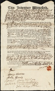 Document of indenture: Servant: Waters, Huldah. Master: Jepson, Benjamin. Town of Master: Boston