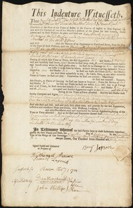 Document of indenture: Servant: Slowly, John. Master: Jepson, Benjamin. Town of Master: Boston