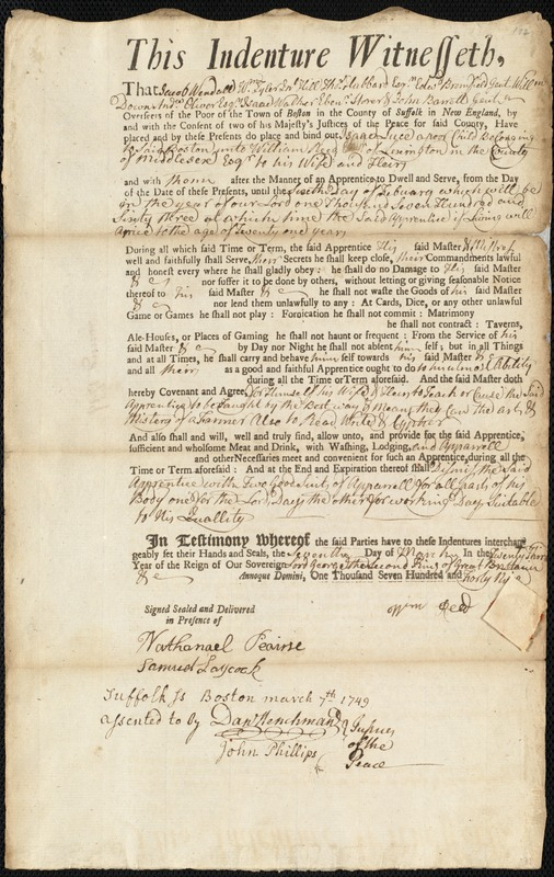 Document of indenture: Servant: Luce, Isaac. Master: Reed, William. Town of Master: Lexington