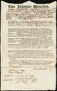 Document of indenture: Servant: Vanliber [Vaniber], Veronica. Master: Barrett, Isaiah. Town of Master: Boston