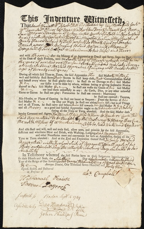 Document of indenture: Servant: Oncuk, Francis. Master: Campbell, Alexander. Town of the Master: Boston