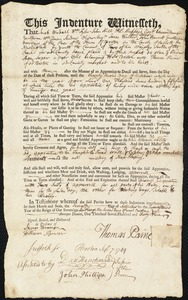 Document of indenture: Servant: Loper, Asa. Master: Paine, Thomas. Town of Master: Boston
