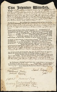Document of indenture: Servant: Hubbard, Miles. Master: Ridgway, Samuel Jr. Town of Master: Boston