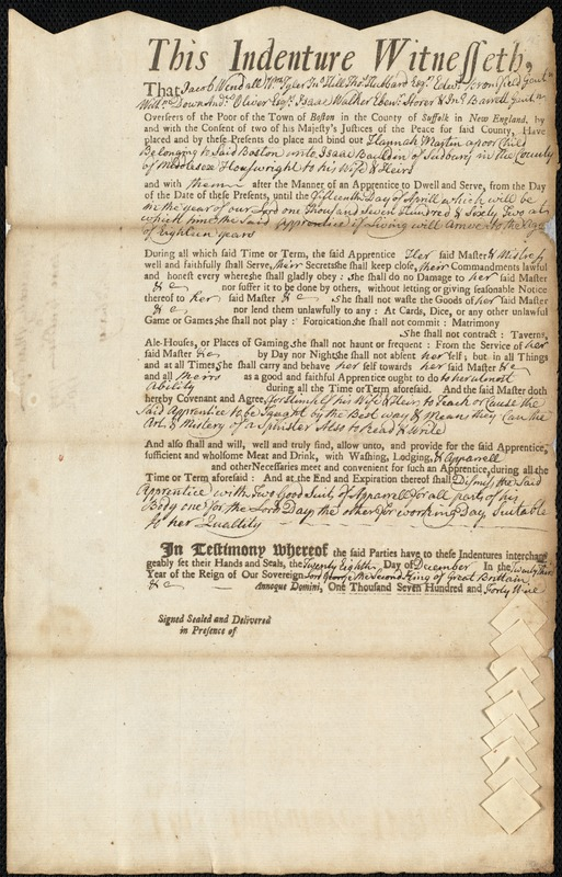 Document of indenture: Servant: Martin, Hannah. Master: Bauldin, Isaac. Town of Master: Sudbury