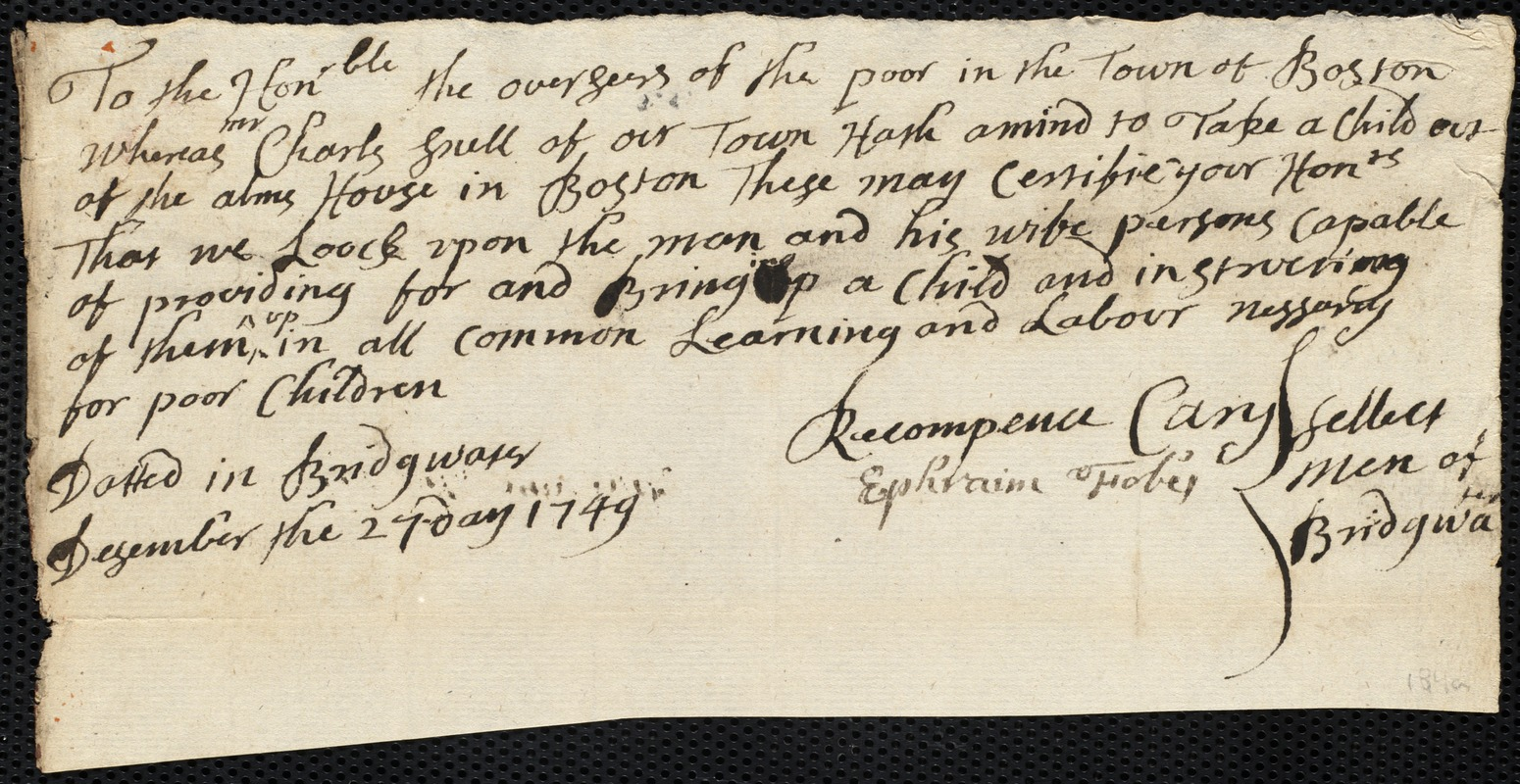 Document of indenture: Servant: Richardson, Charles. Master: Snell, Charles. Town of Master: Bridgewater. Selectmen of the town of Bridgewater autograph document signed to the Overseers of the Poor of the town of Boston: Endorsement Certificate for Charles Snell.