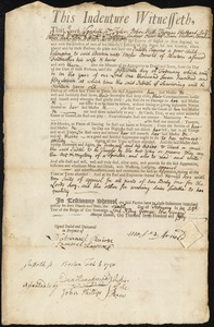 Document of indenture: Servant: Simons, Judith. Master: Arnold, Moses. Town of Master: Boston