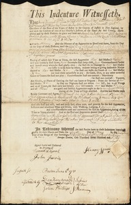 Document of indenture: Servant: Wakefield, Sarah. Master: Spring, Henry. Town of Master: Weston [Westown]