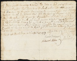 Document of indenture: Servant: Whitewood, Charles. Master: Ryan [Rian], John. Town of Master: Sturbridge. Selectmen of the town of Sturbridge autograph document signed to the Overseers of the Poor of the town of Boston: Endorsement Certificate for John Ryan.