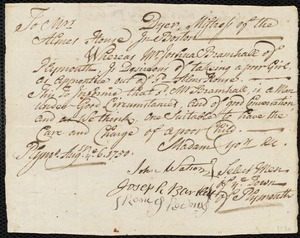 Document of indenture: Servant: Timberlake, Elizabeth. Master: Bramhall, Joshua. Town of Master: Plymouth. Selectmen of the town of Plymouth autograph document signed to the Alms House, Boston: Endorsement Certificate for Joshua Bramhall.