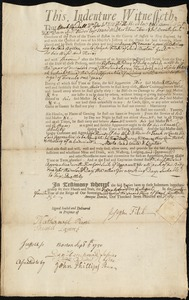 Document of indenture: Servant: McConnel, James. Master: Fitch, Joseph. Town of Master: Boston