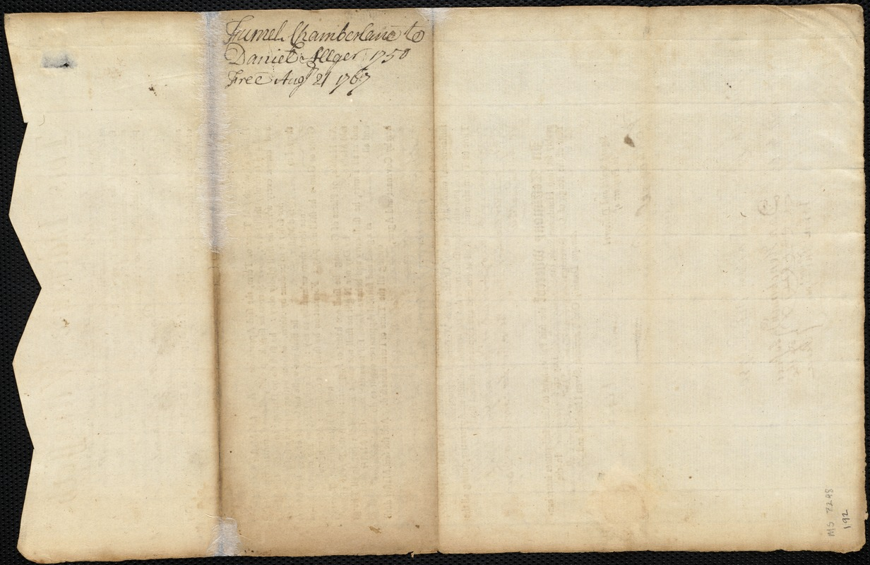 Document of indenture: Servant: Chamberlane, Farnell. Master: Alger, Daniel. Town of Master: Bridgewater. Selectmen of the town of Bridgewater autograph document signed to the Overseers of the Poor of the town of Boston: Endorsement Certificate for Daniel Alger.