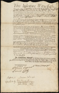 Document of indenture: Servant: Vail, Susanna. Master: Gleeson, Thomas. Town of Master: Oxford