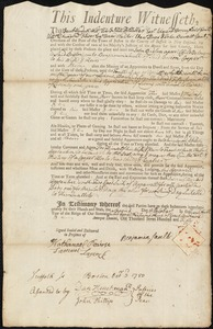 Document of indenture: Servant: Bradson, John. Master: Sault, Benjamin. Town of Master: Boston