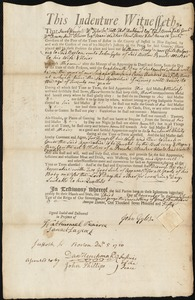 Document of indenture: Servant: Perry, William. Master: Gyles, John. Town of Master: Boston