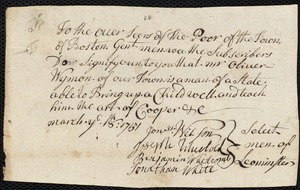 Document of indenture: Servant: Pery, Simeon. Master: Wyman, Oliver. Town of Master: Leonminster. Selectmen of the town of Leonminster autograph letter signed to the Overseers of the Poor of the town of Boston: Endorsement Certificate for Oliver Wyman.