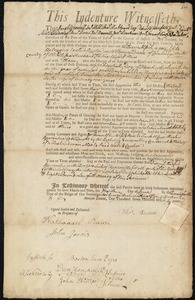Document of indenture: Servant: Alford, William. Master: Dana, Thomas. Town of Master: Cambridge