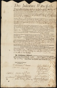 Document of indenture: Servant: West, Hannah. Master: Smith, Israel. Town of Master: Scituate
