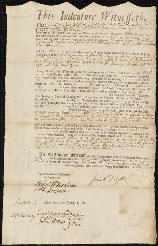 Document of indenture: Servant: Broyd, Mary. Master: Dwight, Josiah. Town of Master: Springfield