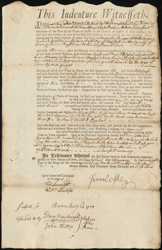 Document of indenture: Servant: Smith, James. Master: Ashley, Israel. Town of Master: Westfield