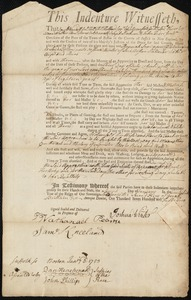 Document of indenture: Servant: Snow, Hannah. Master: Winter, Joshuah [Joshua]. Town of Master: Boston