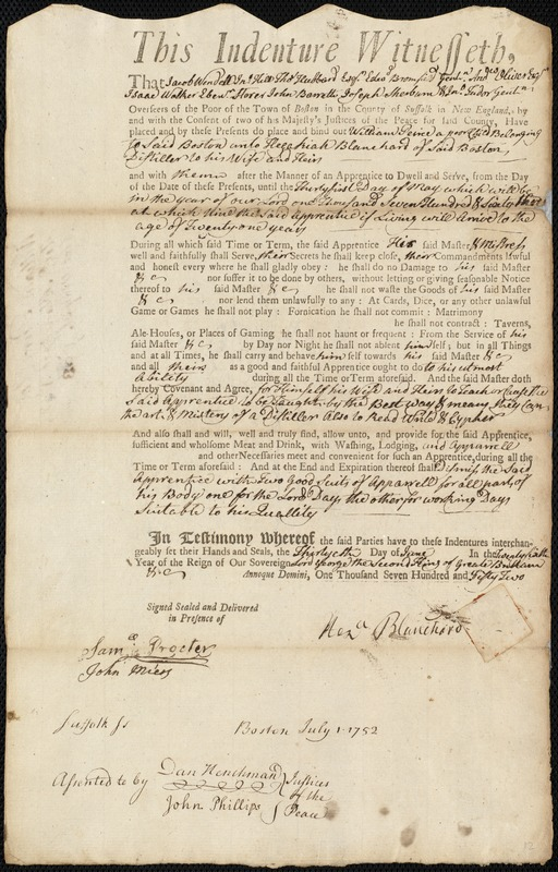 Document of indenture: Servant: Peirce, William. Master: Blanchard, Hezekiah. Town of Master: Boston
