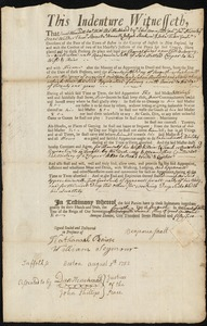 Document of indenture: Servant: Frieyd, Thomas. Master: Sault, Benjamin. Town of Master: Boston