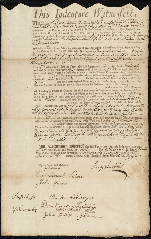 Document of indenture: Servant: Whitcomb, Richard. Master: Hail, Augustus. Town of Master: Boston