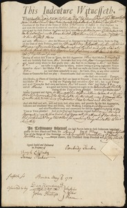 Document of indenture: Servant: Gullion, Mary. Master: Thacher, Oxenbridge. Town of Master: Boston