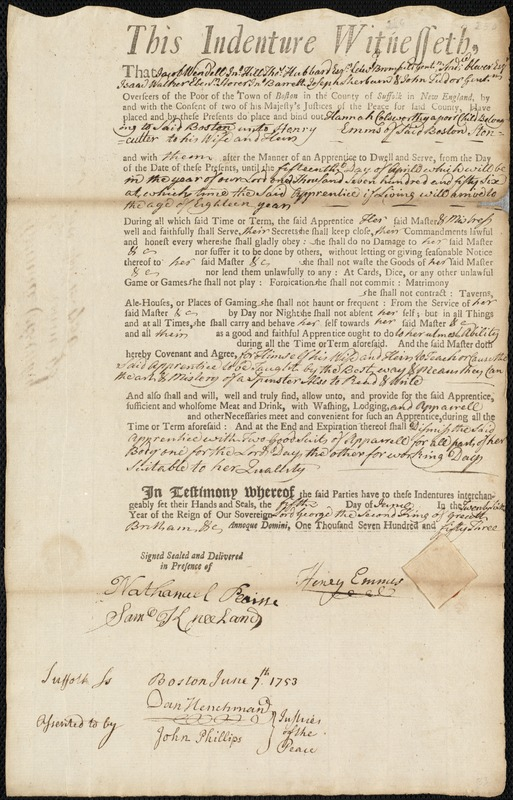 Document of indenture: Servant: Colsworthy, Hannah. Master: Emmis, Henry. Town of Master: Boston