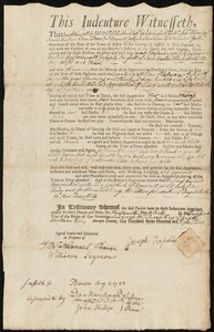 Document of indenture: Servant: Freland, Sarah. Master: Russell, Joseph. Town of Master: Boston
