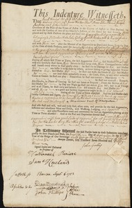 Document of indenture: Servant: Smallidge, George. Master: Galley, John. Town of Master: Boston