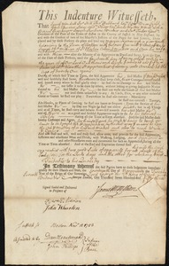 Document of indenture: Servant: Kanavagh, Morgan. Master: McMillian, James. Town of Master: Boston