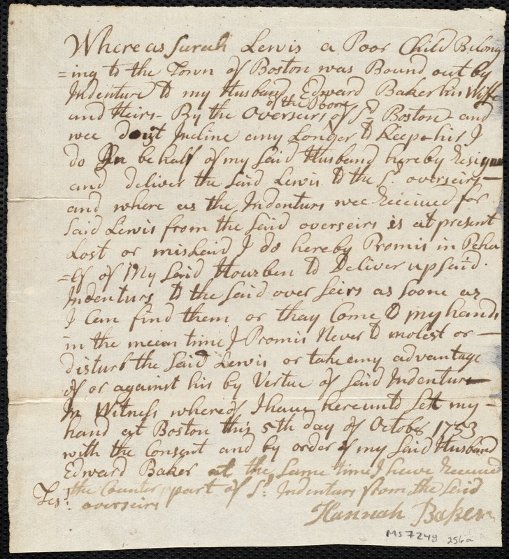 Document of indenture: Servant: Lewis, Sarah. Master: Lovell, John. Town of Master: Boston. Baker, Hannah of the town of Boston autograph document signed to [Whom It May Concern]: Endorsement Certificate for John Lovell.