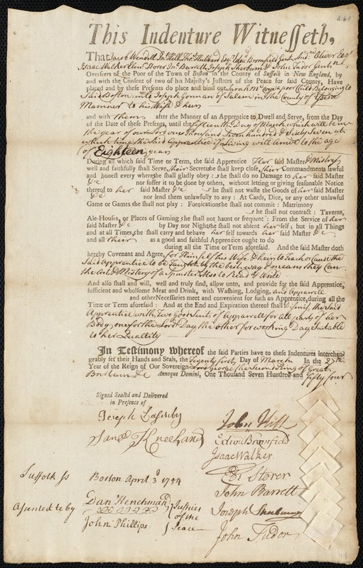 Document of indenture: Servant: McCoye, Sarah. Master: Gorman, Joseph. Town of Master: Salem